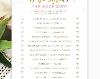 Who Knows the Bride the Best, Bride Trivia Game, Pink and Gold Bridal Shower, Bridal Shower Games, Bachelorette Party Game, PDOTS