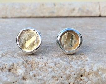 Raw Lemon Quartz Stud Earrings, Raw Stone Silver Stud Earrings, Raw Gemstone Studs, Raw Stone Studs, Lemon Quartz Sterling Silver Earrings