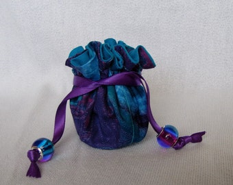 Jewelry Tote - Mini Size - Drawstring Fabric Pouch - Bag for Jewelry - TURQUOISE TAKEOVER