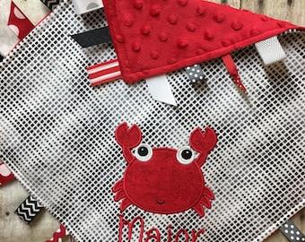 Crab Lovey Blanket, Baby Lovey Blanket, Nautical Sensory Blanket, Personalized Lovey Blanket, Crab Sensory Lovey, Crab Ribbon Blanket