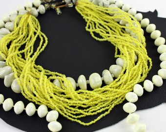 Citrus Yellow & Off White Beaded Necklace Set