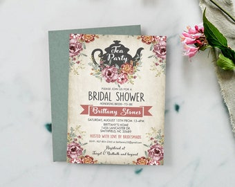 Vintage Tea Party Bridal Shower Invitation, Bridal Shower Invite, Custom Invitation, Shabby Chic Invitation, Calligraphy, Personalized