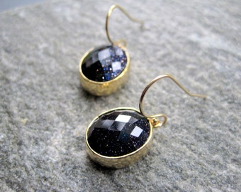 Navy Blue Earrings - Gold Blue Glass Earrings - Shimmer  - Blue Briolette Earrings - Modern Gold Earrings - Faceted Crystal Earrings
