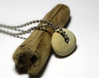 Drilled Beach Stone Necklace - River Rock Stone Silver Chain Necklace - Recycled Upcycled Eco Jewelry - Beach Stone Jewelry - Pebble Drilled
