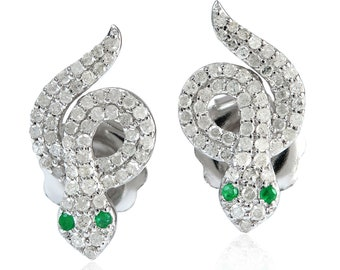 Snake Stud Earrings Emerald Pave Diamond 14kt White Gold 925 Silver Jewelry Gift