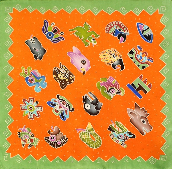 Aztec symbols colorful silk scarf with orange and green background