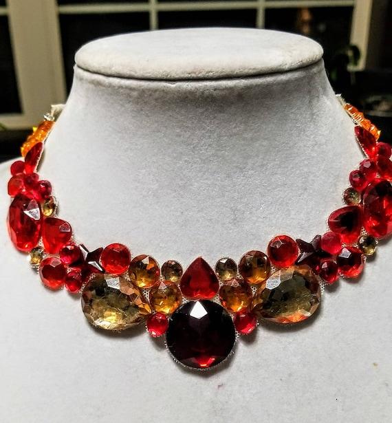 Sunrise - rhinestone bling necklace, illusion necklace, rhinestone bib, floating necklace, rhinestone statement necklace