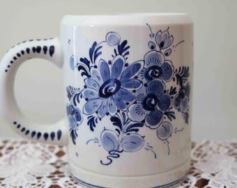 Superb Vintage Delft Windmil / Floral Design Mug   Made in Holland  Excellent condition