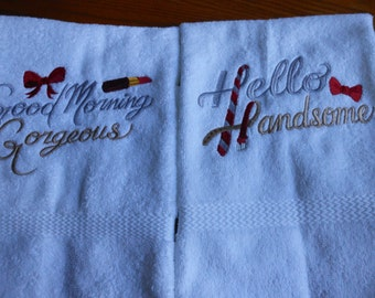 His and Hers Hand/Face Towels Handsome/Gorgeous set  -Set of 2