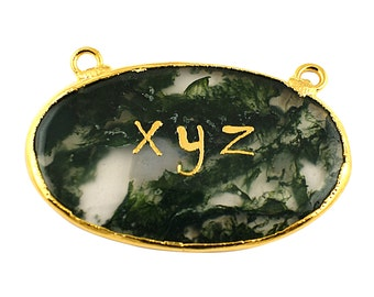 Custom Name Personalized Jewelry | Electroplating Service | Green Moss Agate Gemstone Pendant GFS2262