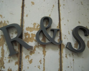 3 X Shabby chic slate grey wooden letters