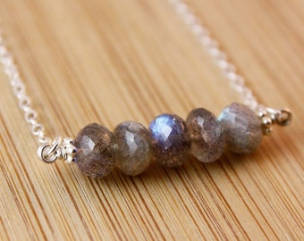 Silver Midnight Blue Labradorite Necklace - 925 Silver