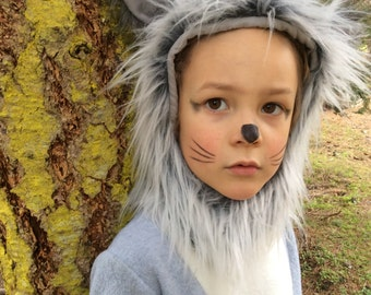 Grey Wolf Halloween Kids Costume for Boys or Girls, Toddler Costume, Childrens Costume, hood and suit Wolf Costume