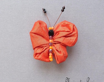bright orange satin fabric Butterfly brooch body with pearls, romantic jewelry, scarf, lapel, hat, made in France