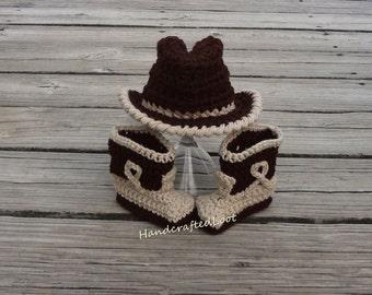 Crochet Newborn Baby Cowboy Hat & Boots Photo Prop Set Shower Gift Keepsake 0-3,3-6 Months