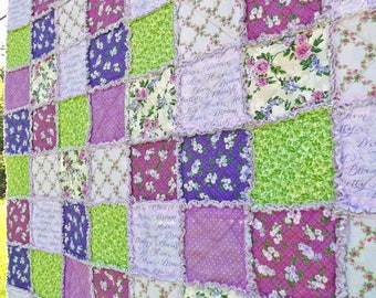 Lap Rag Quilt - Lap Quilt - Inspirational Words - Purple and Green Quilt - Purple Flowers and Polka Dots - Gift for Her - Mother's Day