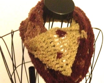 Crochet Infinity Scarf Maroon & Beige Gift for Mom Gift for Her