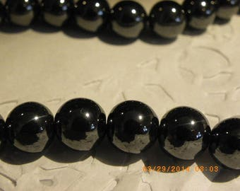 20 beads in hematite 10 mm super shiny black hole of 1.5