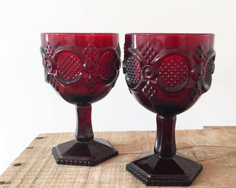 Pair Vintage red glass goblets - wine glass - boho bohemian eclectic style decor home - cape cod wedding glasses - Avon Ruby  #0751