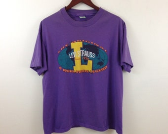 Vintage 90s Levi Strauss Purple Cotton T Shirt - Size Large - Made in USA