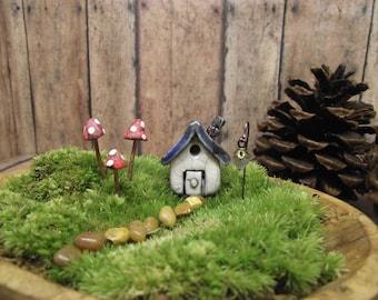 Miniature House with 3 Mushrooms and 1 lantern. Fairy garden house. Clay house. Terrarium supplies. Cottage. Terrarium Decor