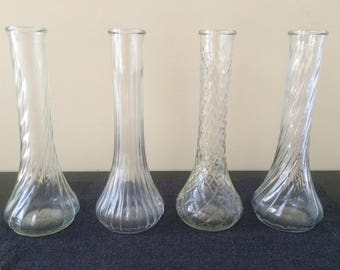 Hoosier Glass Vases, Vintage Glass Bud Vases, Wedding Table Decor, Bud Vase Assortment, Set of 4, Clear 9 inch Pressed Glass Vases, PL3540