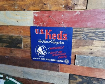 Vintage U.S. Keds Shoes Metal Advertising Sign - United States Rubber Company