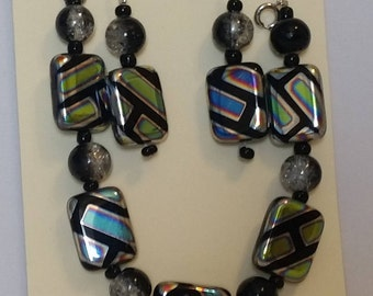 Black geometic bead bracelet and earring set