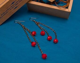 Earrings with red сzech glass bead handmade girl gift