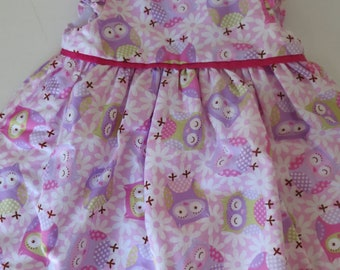 Sweet handmade baby girl lined cotton dress - size 000