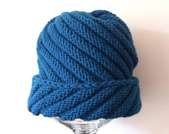 chunky knit hat, teal slouchy hat, wool and acrylic, for her, for him