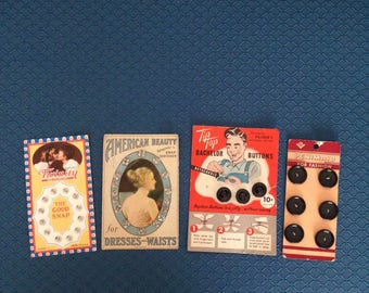 Buttons and Snaps(4 vintage packages for the price)-FreeUS Shipping