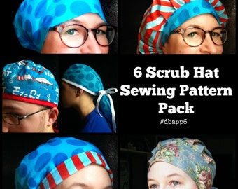 Scrub Hat Sewing Pattern DIY Scrub cap Sewing tutorial Instructions PDF Get 6 Surgical Scrub Hat Chef Hat I Download #dbapp6