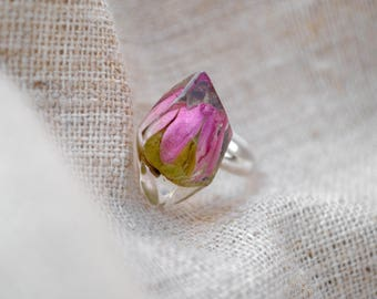 Real flower ring Rose ring Resin rings Resin flower ring Terrarium ring Crystal ring Nature resin jewerly Botanical ring Nature ring