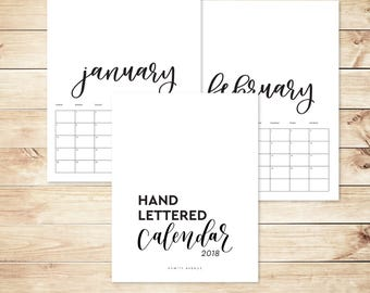 2018 Printable Calendar, 8.5x11 Large Calendar, Hand lettered Black and White DIY calendars, planner