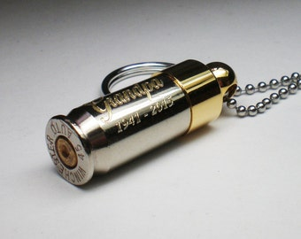 45 Auto ACP Nickel Keepsake Bullet URN Engraved Personalized Keychain Pendant URN for Ashes Funeral Religion