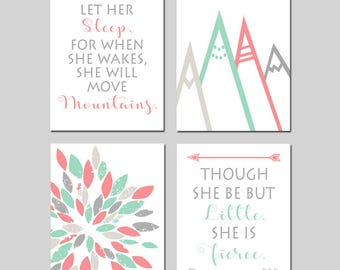 MOUNTAIN NURSERY Art Tribal Nursery Decor Coral Mint Nursery Art Girl Nursery Decor Let Her Sleep Mountains Quote She Is Fierce - Set of 4