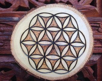 "3.5"" Wood Burned Magnet - Handmade Wood Magnet, Flower Of Life, Bohemian Magnet"