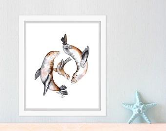 Ocean Nursery Decor, Sea Lion Art, Sea Life, Nursery Art, Ocean Art, Ocean Nursery, Sea Lion Decor, Sea Art, Sea Animals 8.5x11