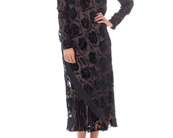 Late 1970s Stavropoulos Velvet And Lurex Burnout Dress Size: