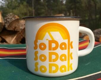Camping Mug South Dakota - Enamel Camp Mug So Dak retro - Enamelware South Dakota Coffee Mug by Oh Geez Design