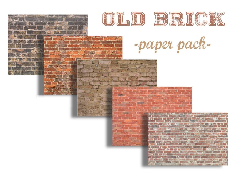 LADRILLOS VINTAGE Digital papel Pack 5 trabajos de