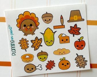 Kawaii Thanksgiving Fall Planner Stickers!