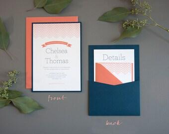 Chevron Wedding Invitation SAMPLE, Panel Pocket, Coral and Navy