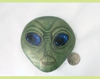 Painted rock, painted stone, alien, martian, little green man, space man, alien face, gag gift, alien rock, Fathers Day, alien art, rock art