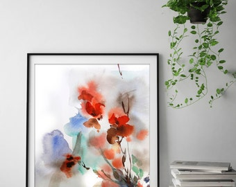 Abstract botanical art print, abstract flowers watercolor painting print, abstract floral botanical modern wall art print