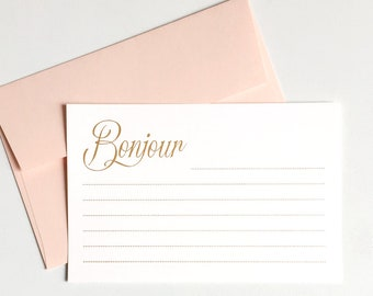 Hello Greeting Cards set of 8, Gold foil Bonjour Flat Note cards with envelopes