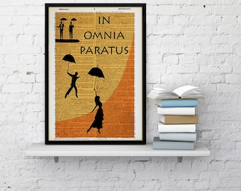 IN OMNIA PARATUS dictionary print Gilmore Girls inspired print lorelai art, rory art home wall decor vintage poster Ready for anything