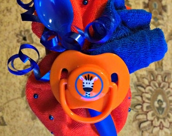 Blue and Orange Baby Shower Corsage