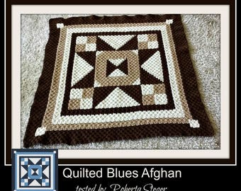 Quilted Blues Afghan, C2C Graph, Written Row by Row Word Chart